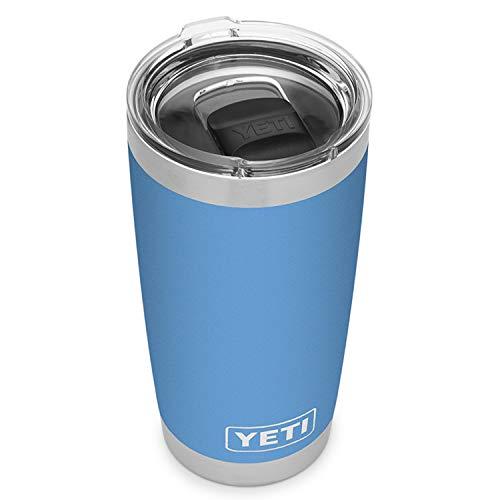 Yeti Rambler, Vakuum-Isolierbecher aus Edelstahl, ca. 600 ml, mit praktischem Magnet-Schiebedeckel, Pacific Blue, 1 Count