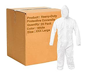 Pack of 25 White 55G Microporous Coveralls with Elastic Bands in Hood, Cuffs, Ankles, Waist. Heavy-Duty Protective Coveralls. Disposable Workwear for cleaning, painting, manufacturing. XXX-Large size.