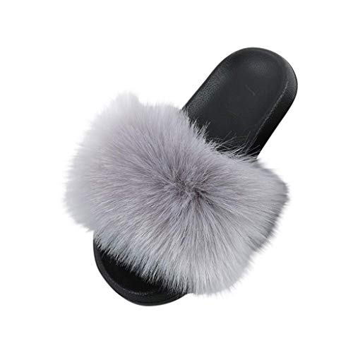 Faux Fur Slippers Fluffy Flat Sandals Indoor Outdoor Slip On Mega Fluffy Mules Sliders Slippers Schoenen voor Dames Dames Meisje (B) Grijs