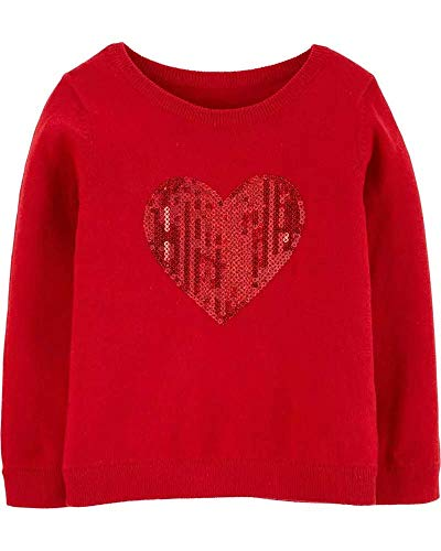 Carter's Valentines Day Red Heart Sweater with Sequins for Toddler Girls (2T)