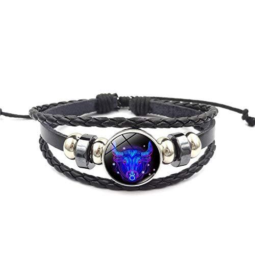 Janly Clearance Sale Pulseras para mujer, 12 pulseras con signo de estrella de constelación para hombres y mujeres, pulseras de cuero trenzado, joyería y relojes para Navidad, San Valentín (E)