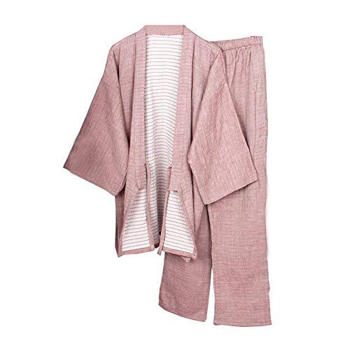 Fancy Pumpkin Vestaglia da Uomo Giapponese Kimono Pigiama Camicia da Notte Media Spessa [Rosso, Taglia M]