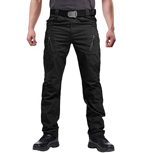 2021 Verbesserte taktische wasserdichte Hose, Mens Tactical Pants Wasserabweisende Ripstop Cargohose (Schwarz, 2XL)