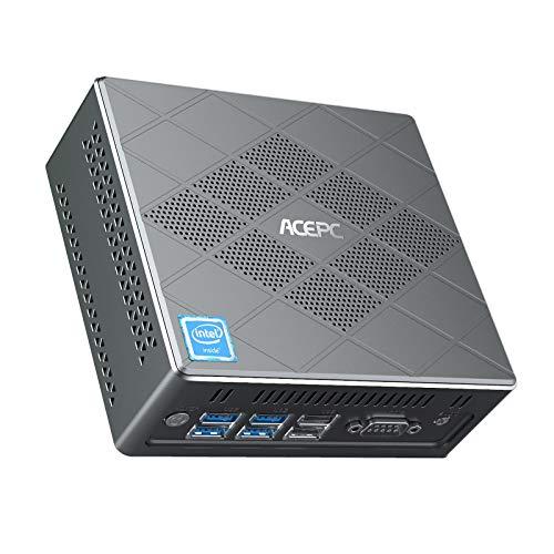 Fanless Mini PC Windows 10 Pro, Mini Computer Intel Core i5-5257U 8GB RAM/128GB mSATA SSD Business 4K Computer Support Triple Display 6X USB Ports/ RS232 COM/2.4G/5G WiFi/ 2 LAN/BT 4.2
