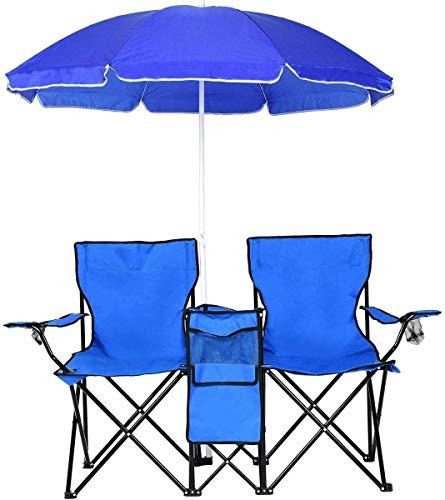 888Warehouse portátil plegable picnic doble silla W/paraguas mesa refrigerador playa camping silla azul - pesca viaje al aire libre