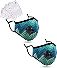 2 Pack Cotton Face Scarf Madks Washable Fabric Mouth_Cover with A_ctivated C_arbon F_ilter, Graphical Green 2 Pack