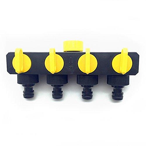 adhere to Fly 4 voies répartiteur Connecteurs, lourd tuyau Saver, eau tuyau d'arrosage avec insigne bautem Robinet d'arrêt 1/2 \