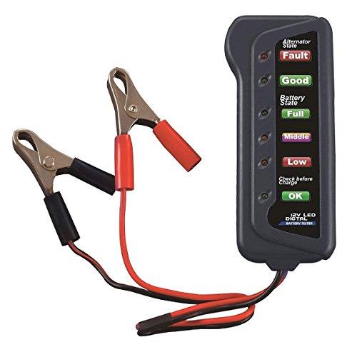 WINOMO Probador de alternador de batería de coche de 12 V – prueba de condición de batería de carga alternador para motocicleta automotriz (indicación de 6 LED)