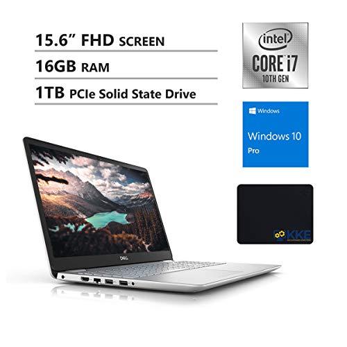 Dell 2020 Inspiron 15.6'' FHD Business Laptop, 10th Gen Intel i7-1065G7, 16GB DDR4 RAM, 1TB PCIe NVMe SSD, HDMI, Wireless-AC, Backlit Keyboard, FP Reader, Silver, KKE Mouse Pad, Windows 10 Pro