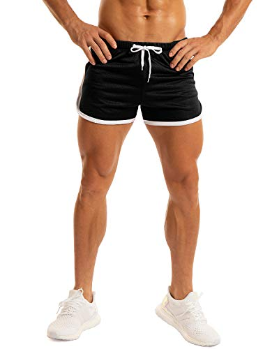 Ouber Men's Fitted Workout Gym Lifting Running Mesh Shorts (A-Black,L)