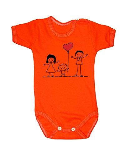 Couleur Mode Dessin Famille Amour Unisexe bodies à manches courtes 100% coton Petit bébé – 24 mois – 0016 Orange 6-9 months, 74 cm
