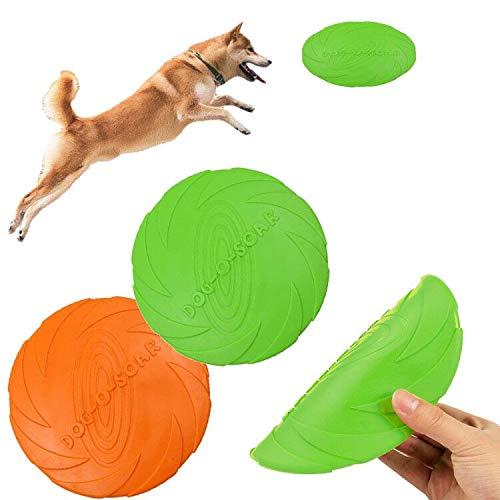 SHUIBIAN Hundefrisbee, 2 Stück Hunde-Frisbee aus Natürlichem Kautschuk für Land und Wasser, Retriever Haustier Fliegende Untertasse Training Hundespielzeug Biss beständiges schwimmendes Wasser