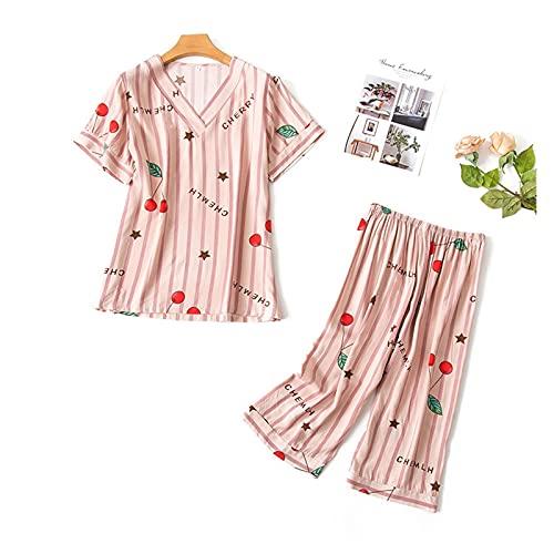XYBB Pijamas de Dibujos Animados algodón Conjunto de Manga Corta Camiseta Pantalones Largos 2 Pieza/Set Sexy Pijama Gran tamaño mamá Homewear Ropa de Dormir (Color : 1, Size : M(40-50KG))