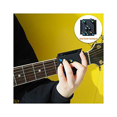 Akkord-Gitarrenhilfen, Neue Gitarren-Lernsystem Unterrichtspraxis Hilfe mit 21 Akkorden, guitar teaching aid, Schwarz, Größe: 6 × 7 × 9 cm