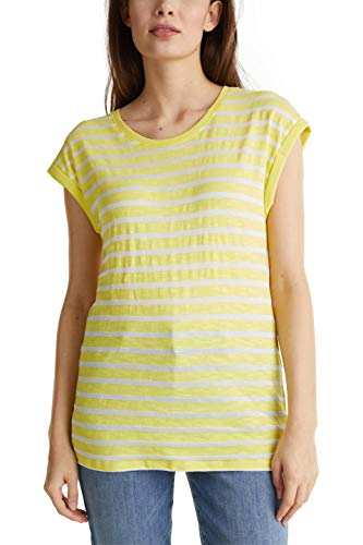 ESPRIT Damen Lässiges Streifen T-Shirt, 743/BRIGHT Yellow 4, XXL
