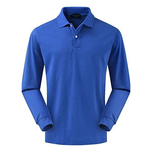 NISHISHOUZI Polo à manches longues, polo, bleu pour homme, polo à manches longues, en coton, pour homme, couleur polos, chemisier tendance, pour homme, tops anti-boulochage, xl