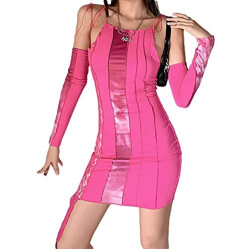 nvIEFE Vestido sexy con cordones para mujer, con tirantes delgados, sin espalda, falda delgada para niñas