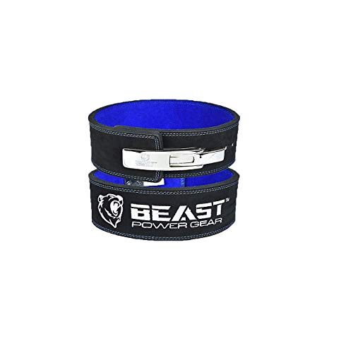 Beastpowergear Weight Lifting Belt with Lever Buckle|10MM Thick & 4 Inches Wide|Free Strap- Advanced Back Support for Weightlifting, Powerlifting, Deadlifts, Squats - Men & Women (Black/Blue, Medium)
