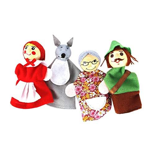 lulongyansf Dedo 4pcs / Set Caperucita Roja de Animales de Navidad Títeres de Juguetes educativos Juguetes muñeca de Dibujos Animados Cuentacuentos Marionetas del Dedo de los Cabritos del Terciopelo