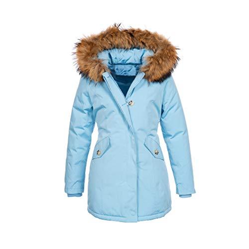 Elara Damen Winterjacke Echt Fell Mantel Chunkyrayan 6015 Hellblau 38/M