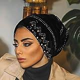 Bohend Vintage Rhinestone Turban Sleep Headwrap Wide Sparkly Sleep Turban Headband Crystal Muslim Hat Headwear Beanie Pre-Tied Bonnet Velvet Hat Cap Hair Wrap For Women and Girls (Black)