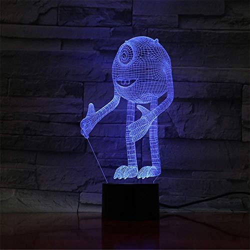 Accesorios de Mesa de Oficina 3D Luz de Noche de Dibujos Animados Luz de Noche 3D Niños Lámpara Visual LED Luz para Bebé Dormitorio Mesita de Noche con Cambio de Color con Control Remoto