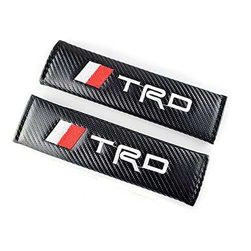 SXZG Almohadillas para cinturón de Seguridad, Cubierta de cinturón de Seguridad de Coche de Cuero de Fibra de Carbono para TRD, Accesorios de Coche 2 Piezas