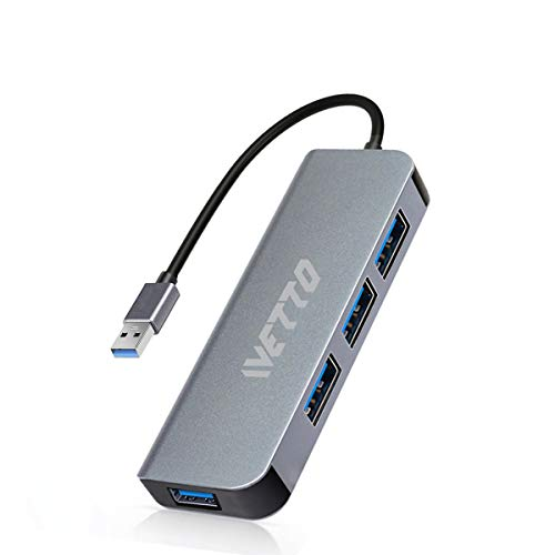 4-Port USB 3.0 Hub - IVETTO Ultra Slim Data USB Hub Splitter for Laptop, MacBook, Mac Pro/Mini, iMac, Surface Pro, XPS, Notebook PC, USB Flash Drives, Mobile HDD, and More