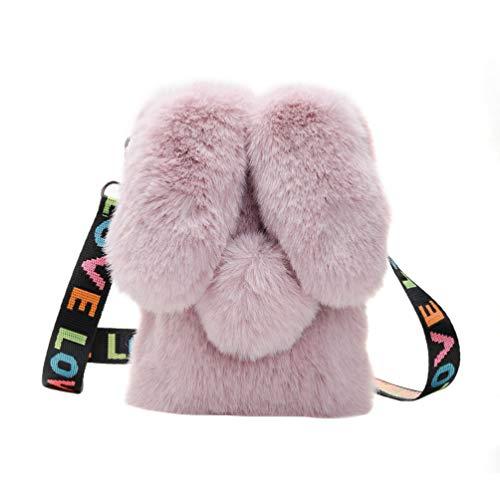 TENDYCOCO Süße Plüsch Hase Crossbody Handytasche Tragbare Kaninchen Crossbody Handtasche Messenger Umhängetasche für Frauen Mädchen