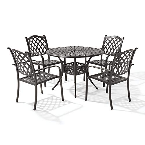 Laurel Canyon Outdoor, 5 Piece Cast Aluminum Patio Furniture Dining Set, 4 Stackable Chairs, 42' Round Table with 1.97' Umbrella Hole for Yard Garden Deck, Dark Brown