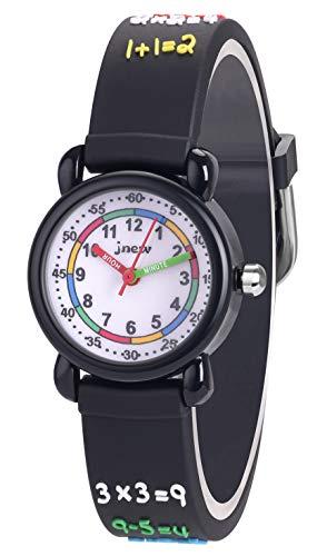 Kinderuhren Jungen Mädchen Uhren Fashion Niedlich Analog Quarz Armbanduhr Zeit Lehrer Geschenk Uhr für Kinder Alter 3-12 Kinder Wasserdicht Schwarze Daten
