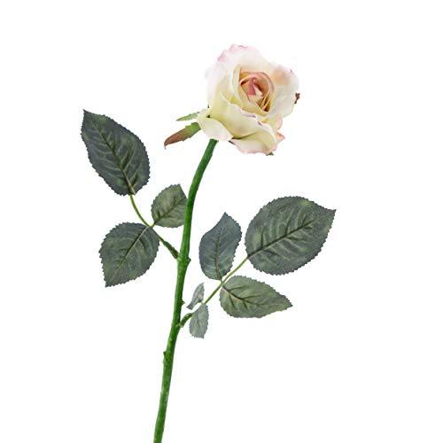 artplants.de Künstliche Rose ELLI, Blätter, rosa - weiß, 60cm, Ø 8cm - Kunstblume
