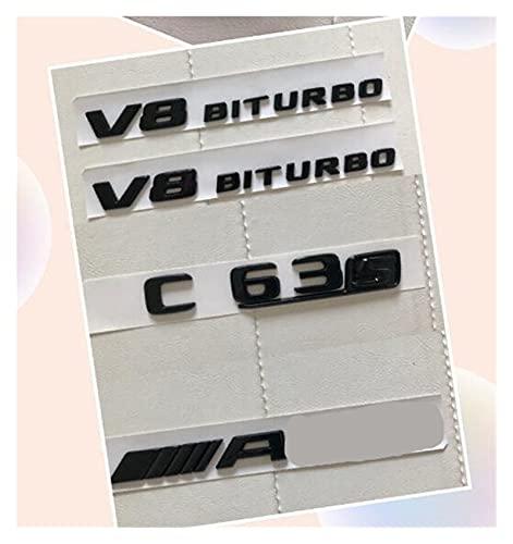 ZHUHUI YUYANGZHI Gloss Black C63S Aptos para V8 BITURBO Paquete de Etiqueta Etiqueta Emblem Badge Package para W205 C63S Pegatinas e imanes (Color : 4pcs Gloss Black)