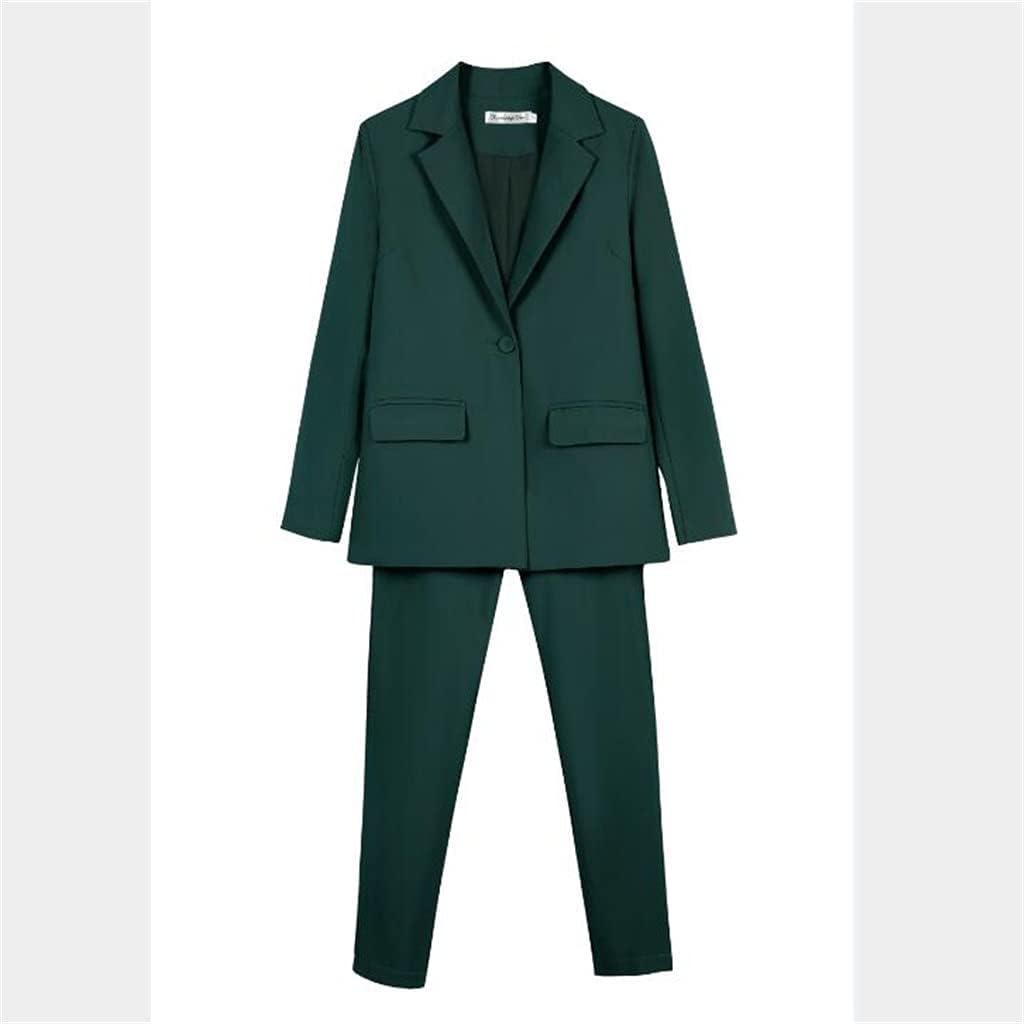 NJBYX Women 2 Piece Work Suits Business Interview Suit Set Uniform Pencil Jacket and Pants Office Suit (Color : Green, Size : XL)