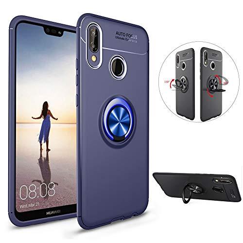 LCHDA Coque Huawei P20 Lite Anneau Doigt de Maintien Bague Support Bequille Souple Silicone Anti-Choc Magnétique Arriere Moto Voiture Etui Housse Couverture avec Invisible Kickstand-Bleu Bleu