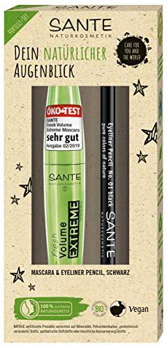 SANTE Naturkosmetik Geschenkset Fresh Volume EXTREME Mascara (10ml) & Eyeliner Pencil (1,1g), Vegan, Wimperntusche für Volumen