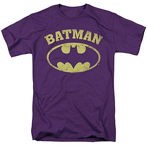 Batman Over Symbol Unisex Adult T Shirt for Men and Women, Purple, 5X-Large