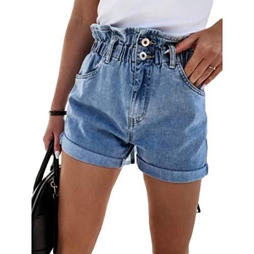 Pantalones Cortos de Mezclilla para Mujer Pantalones Cortos de Cintura Alta Rectos Casuales de Moda de Verano Pantalones Cortos de Mezclilla de Cintura elástica Ajustable de Moda S