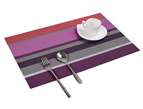 Baishide Table Mats Sets of 4 Color Stripe Vinyl Kitchen Placemats Dining...