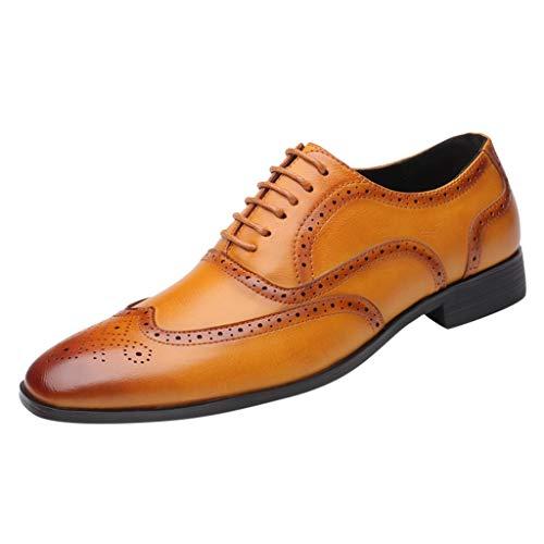 FNKDOR Schuhe Groß(37-46) Berufsschuhe Britischer Stil Herren Lederschuhe spitz Geschäft Schnürsenkel Freizeitschuhe Oxford Leder Hochzeitsschuhe Gelb 39 EU