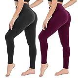 Damen Leggings Sporthose mit Hohem Bund - Yogahose Laufhose Fitnesshose Leggins Yoga Sport Leggings Tights für Damen zum Laufen, Radfahren, Fitness (2er Pack- Schwarz& pflaume, Plus Size(DE 42-48))