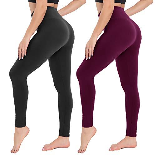 Campsnail Leggings Damen- High Waist Leggins Slim Fit Angenehm Weiche Elastische Blickdicht Sportleggings mit Bauchkontrolle(2er Pack- Schwarz& Pflaume, Plus Size(DE 42-48))