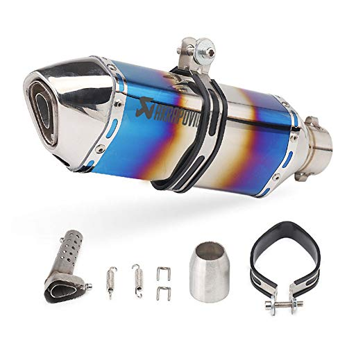 YYM Tubo de Escape de Motocicleta Puntas de Bicicleta de Motor Tubo de silenciador Deslizante 38-51 Mm Tubo de Cola de silenciador de Acero Inoxidable Modificado Incl DB Killer Tail Pipe Refit,A