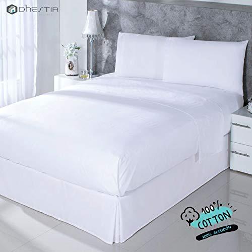 DHestia Hostelería-Juego Sábanas Blancas Hotel 100% Algodón, Encimera, Bajera, Fundas Almohada, (Cama 200 x 190/200 cm)