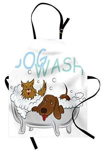 Lunarable Cartoon Apron, Playful Dogs in a Bathtub Grooming Each Other Pets Theme Illustration, Unisex Kitchen Bib with Adjustable Neck for Cooking Gardening, Adult Size, White Brown