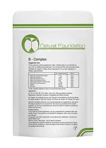 Vitamin B Complex B1, B2, B3, B5, B7, B9, B12 1 Tablet Full Days Supply High Strength | 240 Tablets 8 Months Supply | Natural Foundation Supplements