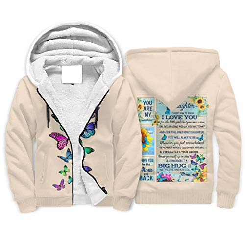 FFanClassic Sudadera de forro polar con capucha para mi hija para hombre de estilo suave, diseño único forrado chaqueta abrigo blanco s