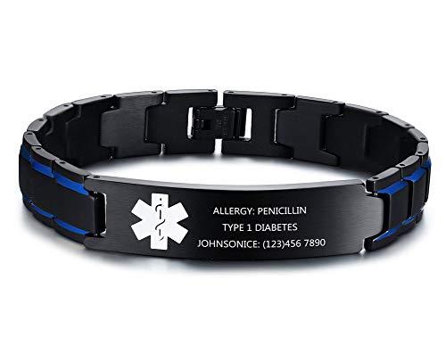 MEALGUET Custom Engraving Stainless Steel 2-Tone Blue and Black Brushed Medical Alert Link Wristband ID Bracelet for Men