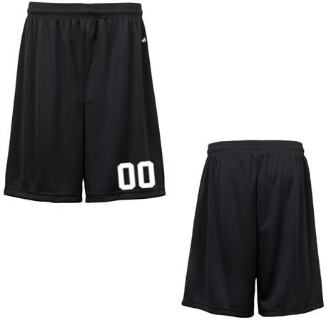 Black Youth Small (Custom with Uniform #) Athletic Wicking Sports Shorts