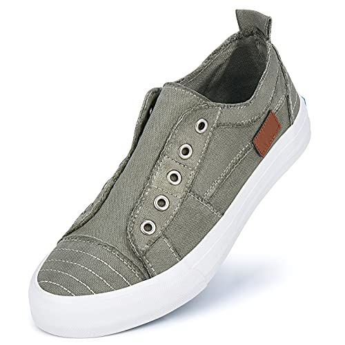 JENN ARDOR Women's Canvas Slip On Sneakers Low Tops Fashion Flats Comfortable Casual Shoes for Walking